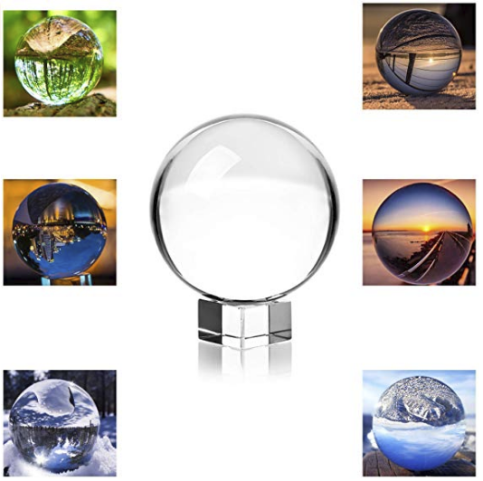 Glass ball to turn pictures upside down, photo gift